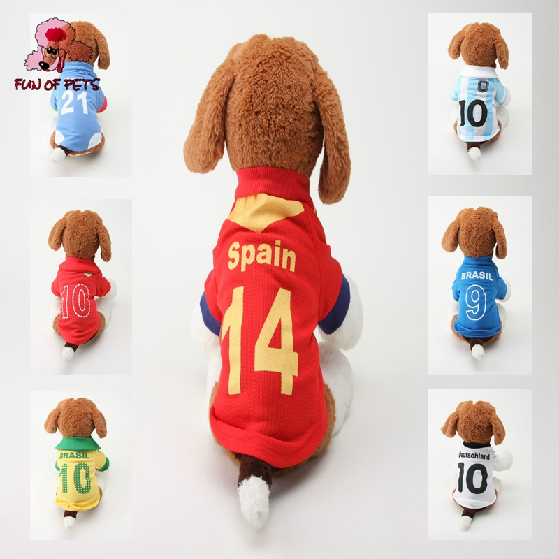 2017 Number 10 Number 14 Polyester Football Team Dog Shirts for Pets Dog Dog Clothes font