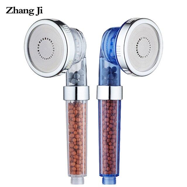ZhangJi 3 機能調節可能な噴射シャワーヘッド浴室高圧省陰イオンフィルタースパシャワーヘッドダンボール梱包