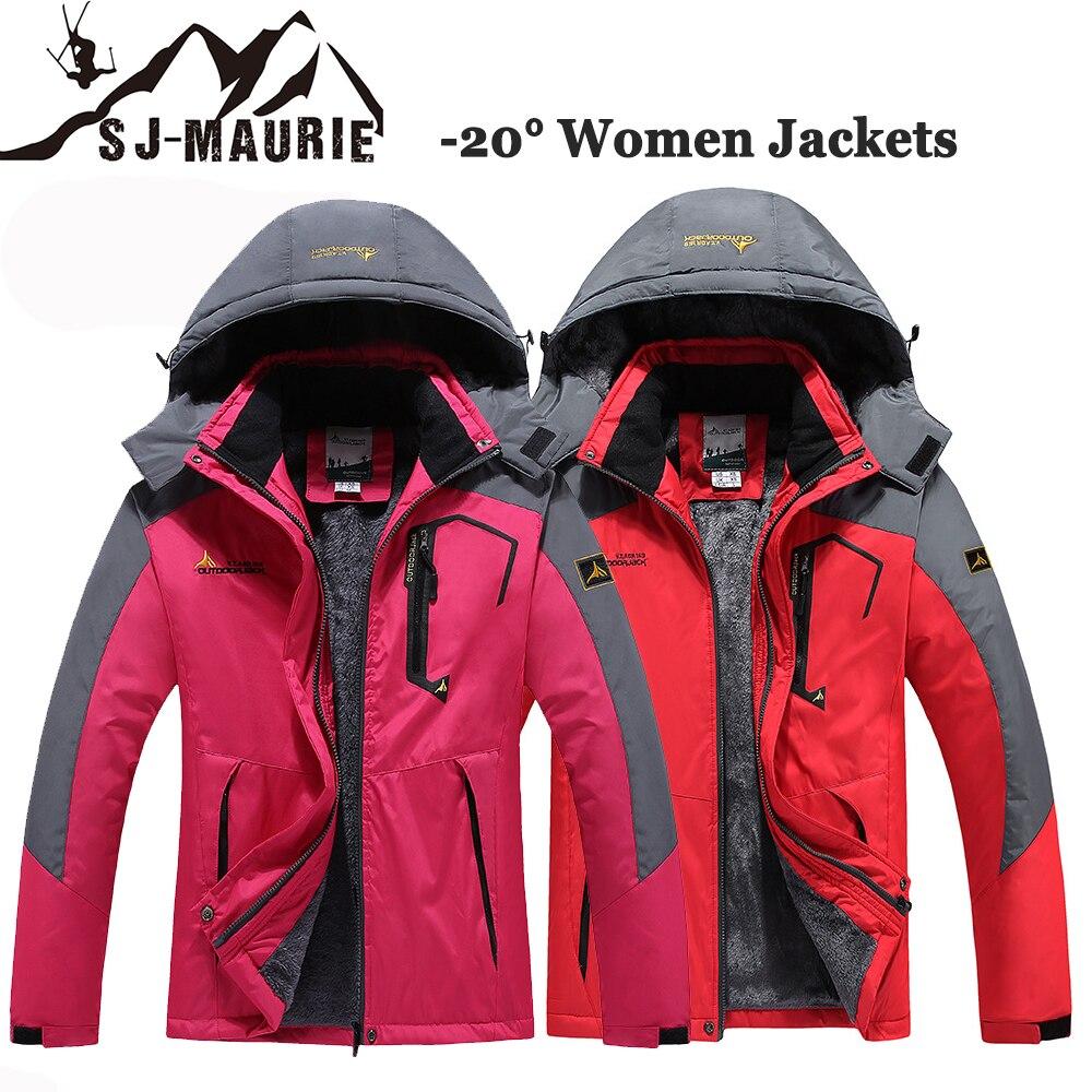 Sj-maurie femmes vestes d'hiver imperméables en plein air-30 degrés Camping Trekking manteau pêche coupe-vent escalade randonnée vêtements