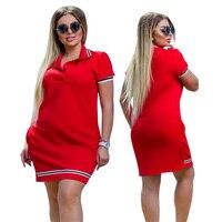 2019 Новое модное женское платье-поло большого размера 6XL выше размера d выше колена мини-платья для работы вечерние женские элегантные ботфор...