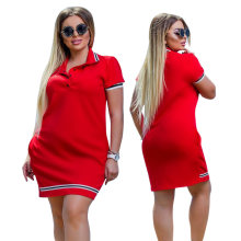 2019 New Fashion Women Polo Dress Big Size 6XL Oversized Above Knee Mini Dresses Work Party Female Elegant Oversized Vestidos(China)