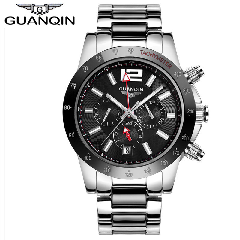 Здесь продается  GUANQIN design Men sports watches Waterproof Stainless steel Sapphire Mechanical men sport watch Black wristwatches Male  Часы