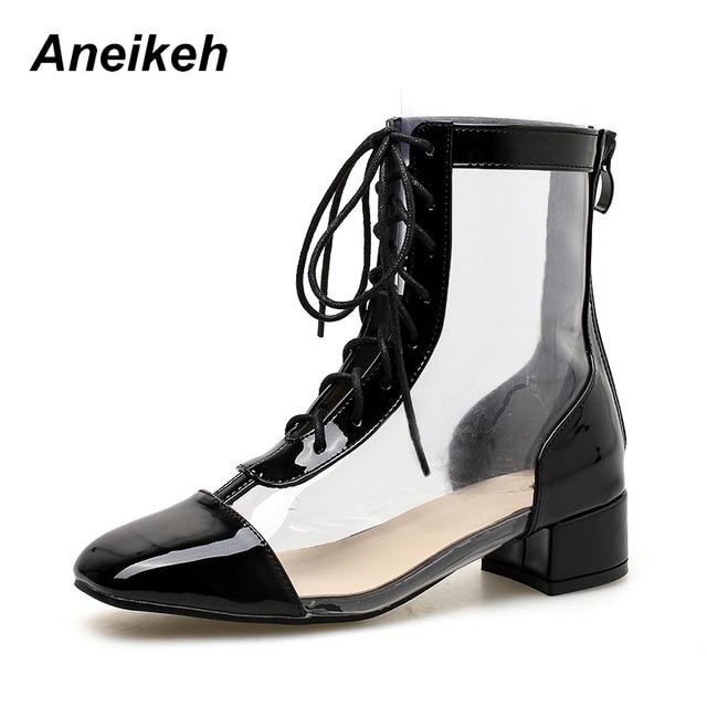 667cfe61be3 Aneikeh 2018 Autumn NEW Women PVC Transparent Ankle Boots Round Toe Lace-Up  Pumps Women