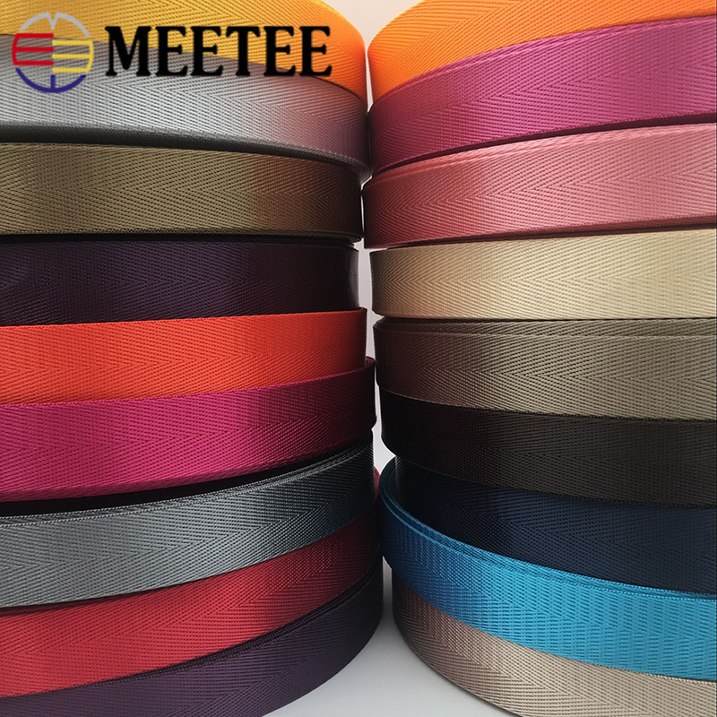 Meetee 8Meters 25mm High Quality Nylon Webbing Band Herringbone Pattern Lace Tape Ribbon DIY Bag Strap Sewing Belt Accessories