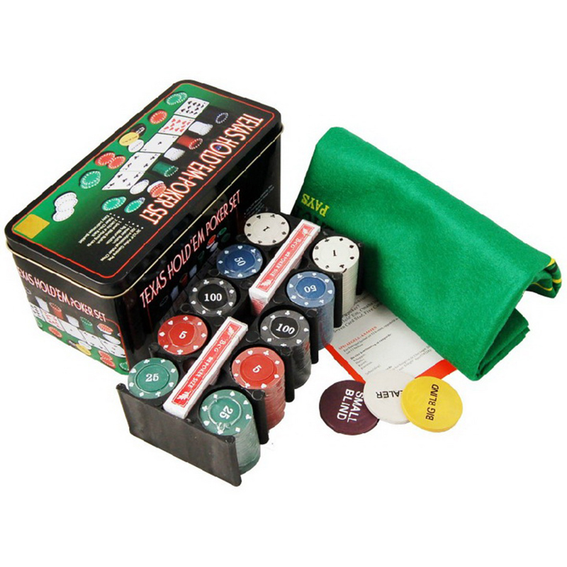 New Hot Super Deal 200 Texas Holdem Poker Set Bargaining Poker Chip Set Blackjack Table Cloth Blinds Dealer Poker Cards qenueson in Poker Chips from Sports Entertainment