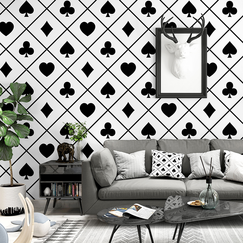 Nordic Wallpaper PVC Television Background Black and White Lattice Geometry Bedroom Living Room Modern Poker Wallpaper(China)