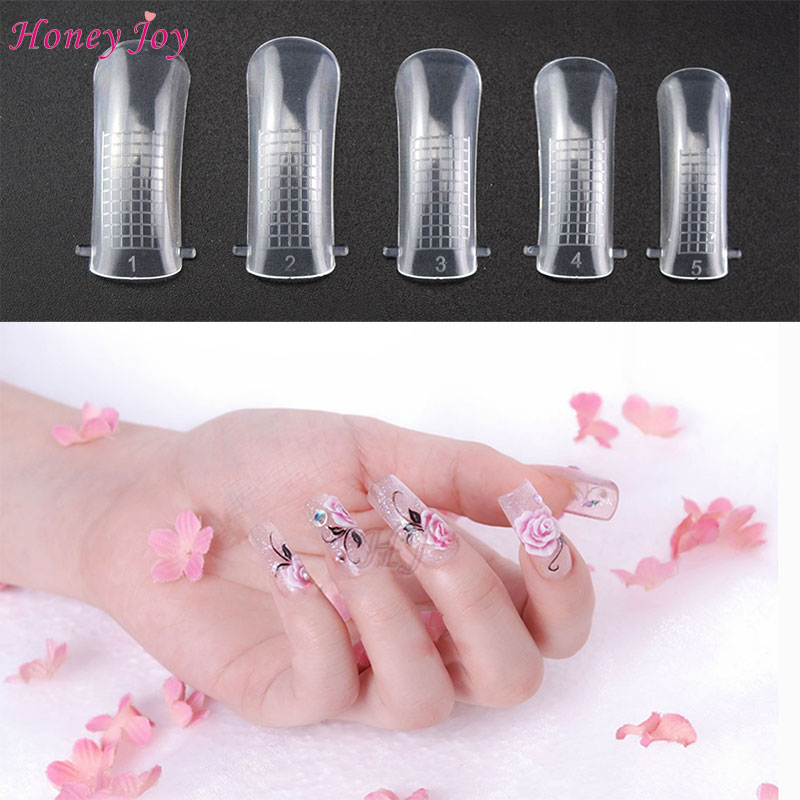 100pcs Dual Clear gel Nail System Form for Uv Acrylic false nail Art ...