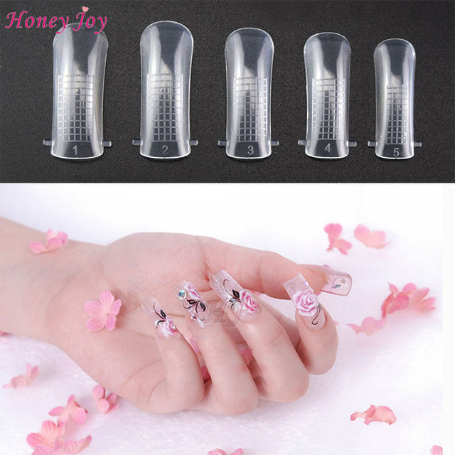US $2 84 5% OFF|100pcs Jelly Poly Gel False Nail Tips Model Form for Full  Cover UV GEL Acrylic Nail Art Mold Fake Nails Extension Transparent-in  False
