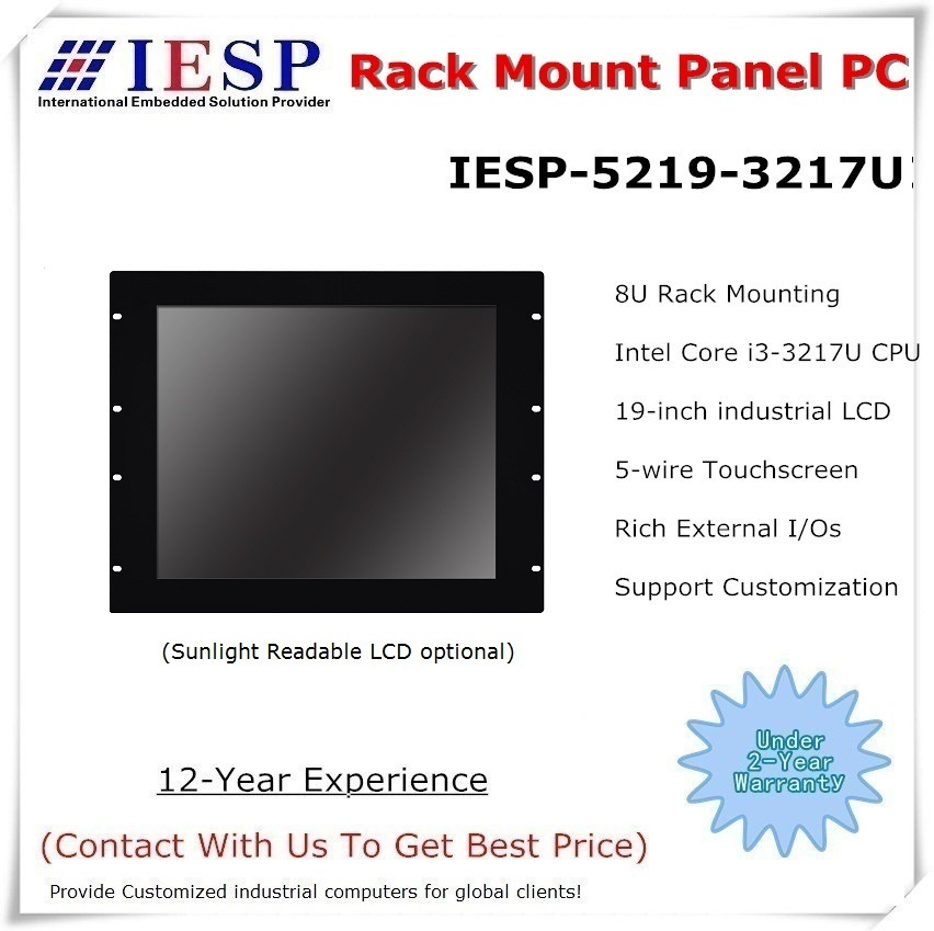 19 Inch Rack Mount Industrial Panel PC, Core I3-3217U CPU, 4GB RAM, 500GB HDD, 4*RS232, Fanless Industrial Computer
