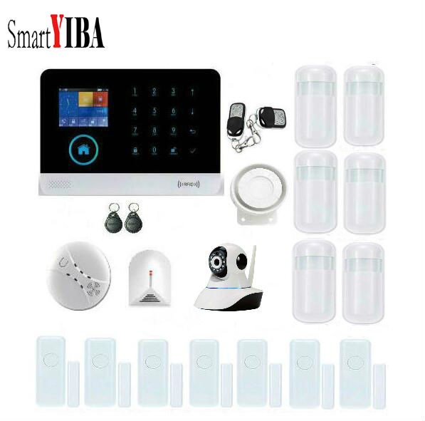 SmartYIBA Touch Screen Alarm Panel Home Security Alarm System WIFI Wireless Alarmes With IP Camera Fire/Smoke Alarm Kits