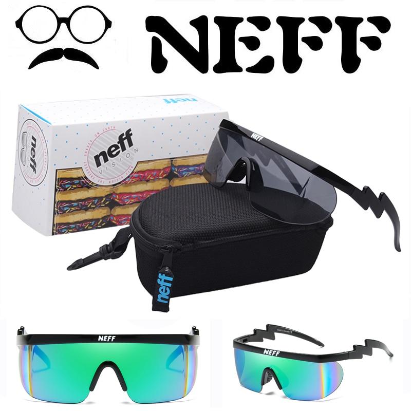 Con el embalaje Neff Sunglass hombres mujeres marca diseñador revestimiento gradiente sol gafas hombre deportes 2 piezas lente oculos de sol
