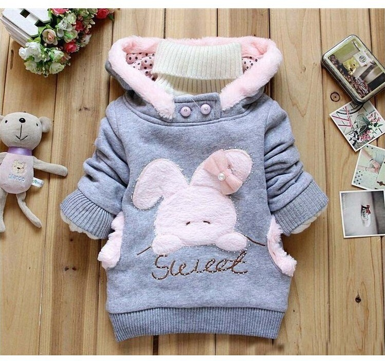 Girls Sweatshirts Hoodies Children Clothing Autumn And Winter Baby girl Thick Cotton Tops Kids Cute Cartoon Rabbit Hooded Coat 8