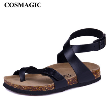 COSMAGIC Fashion Cork Sandals 2018 New Women Casual Summer Beach Gladiator Buckle Strap Sandals Shoe Flat with Plus Size