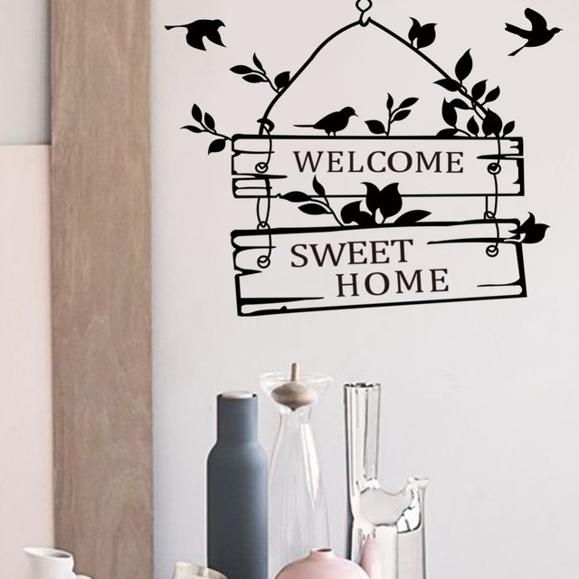 Delightful Welcome Sweet Home Decoration Wall Decals Decorative Removable Vinyl Wall  Stickers For Family Vinyl Decal