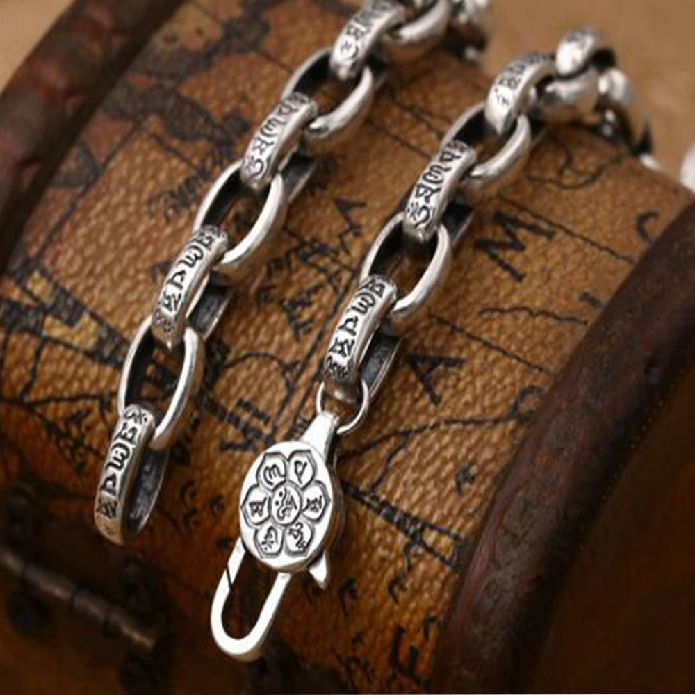 Six Words True Words Buckle Chain 100% Pure Silver Chain Necklace S925 Sterling Silver Thai Silver Necklaces Unisex Jewelry gagafeel vintage chain 925 sterling silver six mantra words necklaces for men handmade chain link female male silver drop ship
