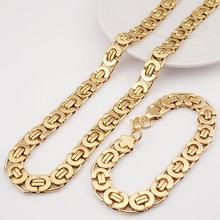 Moorvan Egipto Bizantina Hombres del Acero Inoxidable de Joyería de Moda Conjuntos de Collar Pulsera 11mm Ancho joyería para Las Mujeres del Hombre de