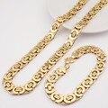Stainless Steel Men Jewelry Set 2016 Fashion Egypt Byzantine Bracelet Necklace Sets 11mm Width jewellery for New Women's Man's