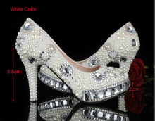 2016 Luxury Handmade  Lady's Stiletto heel Rhinestone  Shoes Crystal Pearl  Wedding Shoes for women Party Shoes Imitation Pearl