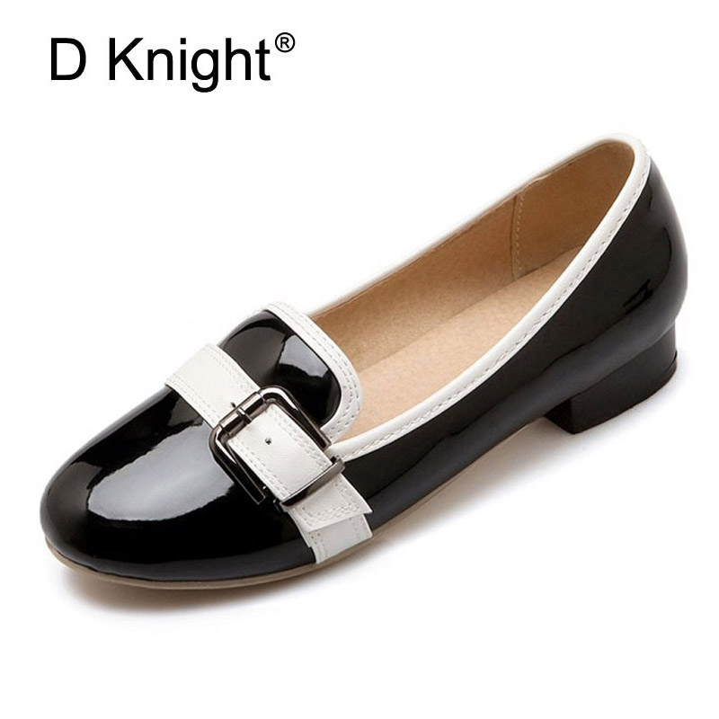 Spring Loafers 2017 Casual Platform Shoes Woman Slip On Ballte Flats Metal Buckle Fashion Women Flat Shoes Plus Size 33-43 C53 odetina 2017 new women pointed metal toe loafers women ballerina flats black ladies slip on flats plus size spring casual shoes