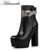 Mujeres Plataforma Botas de Mitad de la pantorrilla de Cuero Genuino Color Mezclado 2017 Nuevas Señoras de La Manera Gruesa Suela Gruesa zapatos de Tacón Alto Sexy botas