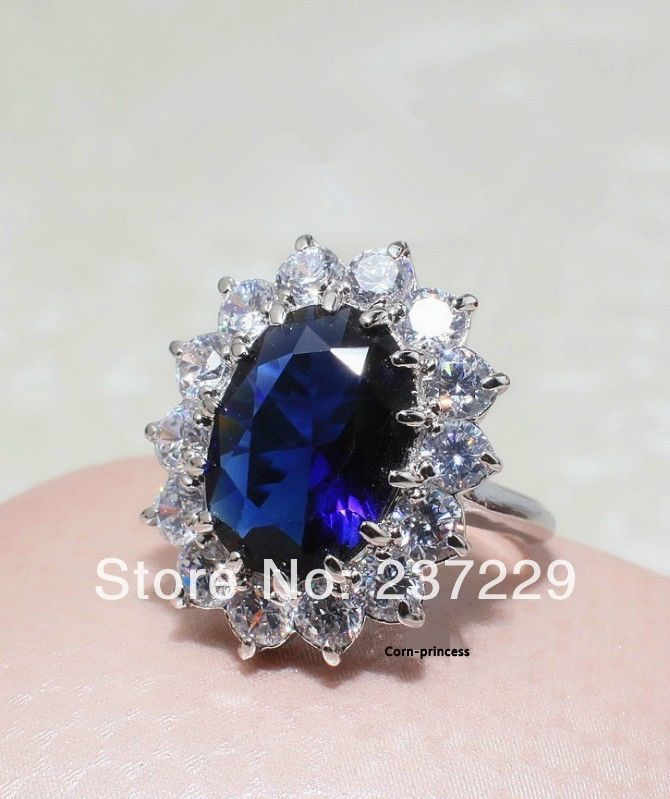 Hot sell ->@@ Wholesale price S ^^^^ White Element Crystal Blue Ocean Heart Princess Ring -Top quality free ship