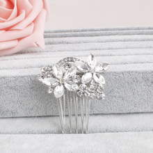 Miallo Wedding Crystal Hair comb Flower Rhinestone Hair Combs Headpiece Flower Pattern Brial Hair Accessories Hairpins Headband