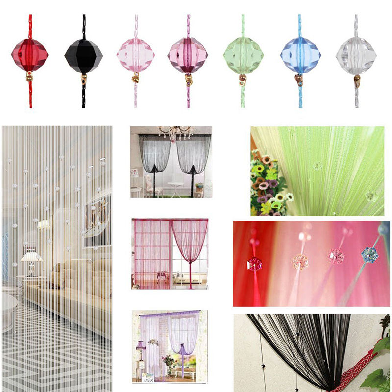 Tassel Curtain Crystal Beads Tassel Silk String Curtain Window Door Divider Sheer Curtains Valance Door Windows Panel Curtain