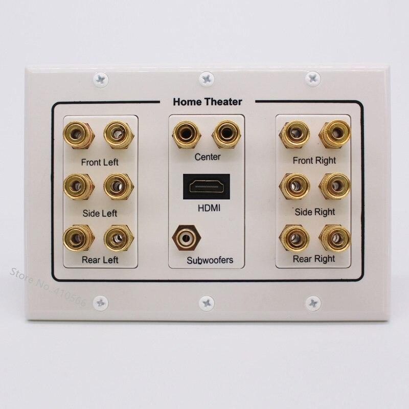 Золотой Аудио Динамик Разъем Панель розетка многофункциональная Клеммная коробка настенная розетка для HDMI сабвуфер театральная система н...
