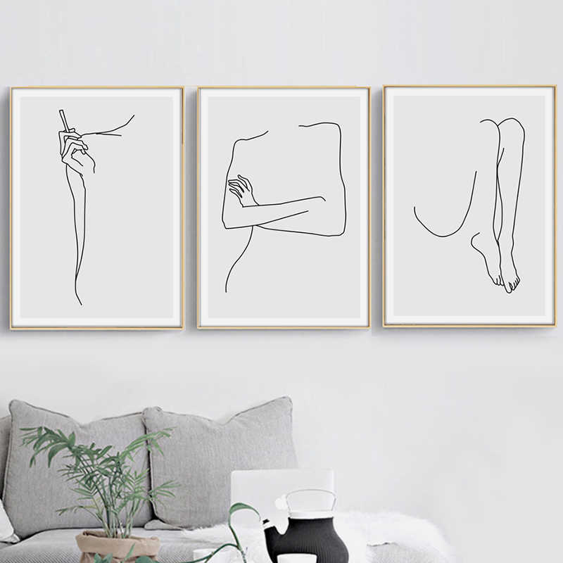 Wall Art Canvas Painting Nordic Posters And Prints Canvas Geometric Curve Body Abstract  Pictures For Bedroom Home Decoration