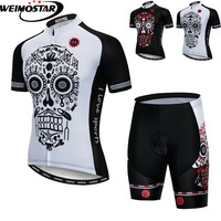 Cycling Jersey Set 2018 MTB Bike Clothing Racing Bicycle Clothes Maillot Ropa Ciclismo Summer Mountain Bike Set White Skull Gear