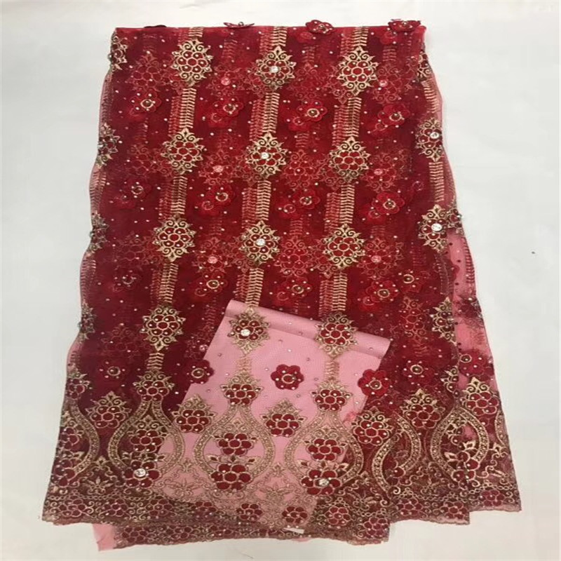New Design Red Color African Nigerian Tulle Lace Fabric High Quality 2018 Latest African Net Lace