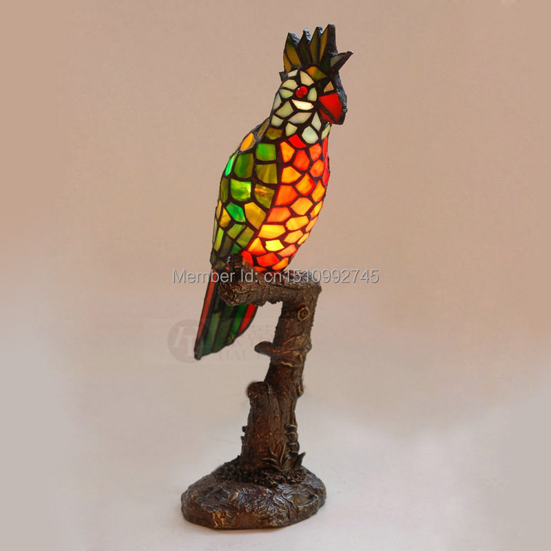 New Tiffany Parrot Table Lamp Bedside Lamps Stained Glass Lampshade  Decorative Animal Lamp Accent Light Creative GiftS Novelty In Table Lamps  From Lights ...