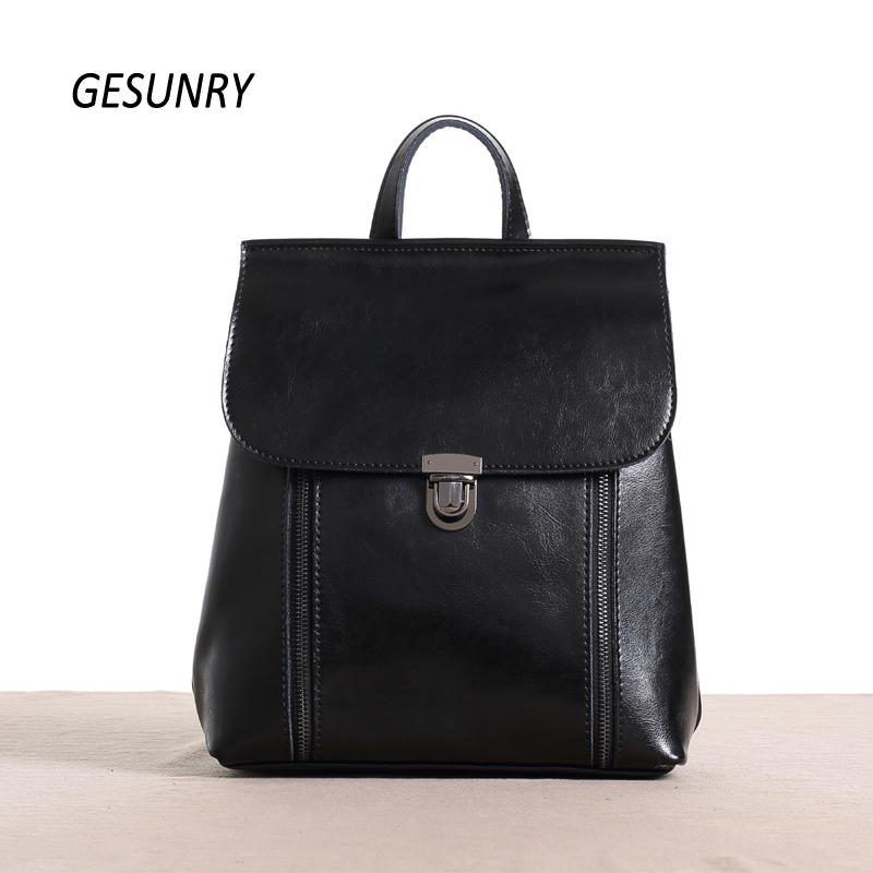 ФОТО Fashion Genuine Leather Women Backpack Hot High Quality Famous Brand Preppy Style String Women School Bag Girl Travel Bags