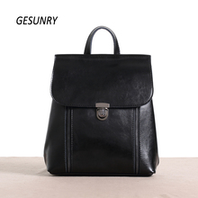 Fashion Genuine Leather Women Backpack Hot High Quality Famous Brand Preppy Style String Women School Bag