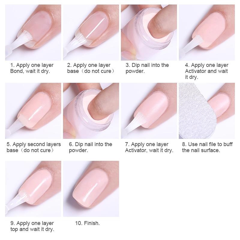 Image 5 - 4Pcs/Set Dipping System Nail Kit Dipping Nail Powder With Base Activator Liquid Gel Nail Color Natural Dry Without Lamp Nail-in Nail Glitter from Beauty & Health