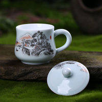 Houmaid drinkware Chinese ceramic teacup with lid painted traditional Chinese painting on glazed porcelain teaup from Jingdezhen