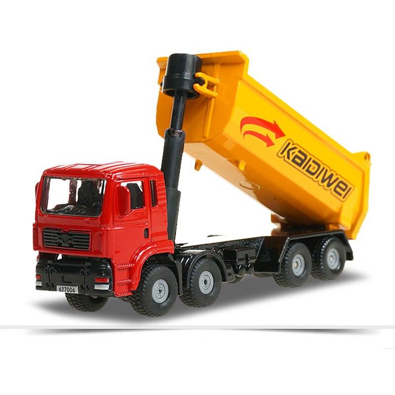 Liga transportador de caminhão basculante kdw diecast engenharia veículo liga modelo 172 simulação despejando brinquedo das crianças coleção presente