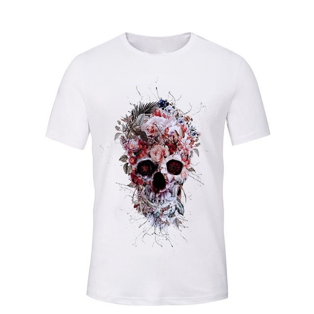 FLOWER HEAD SKULL 3D T-SHIRT
