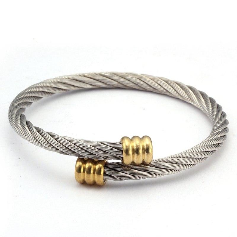Tendance Sportive Maille Tressée Surface Mâle Bracelets porte-bonheur En Argent Ouvert En Acier Inoxydable Hommes Femmes Manchette Bracelets Bracelets Pulsera 4