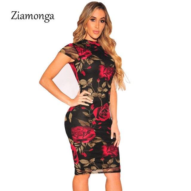 27ed7a7ec Ziamonga Plus Size Vestido Bandage 2019 Vestido de Festa Sexy Preto Floral  de Impressão Na Altura