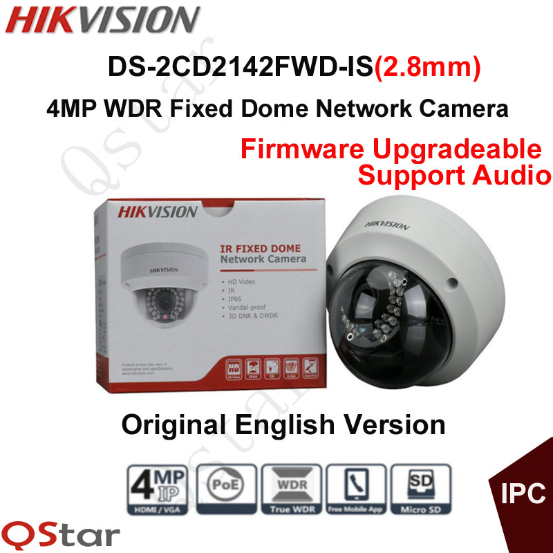 Hikvision Original English Version Surveillance Camera DS-2CD2142FWD-IS(2.8mm) 4MP CCTV IP Camera POE Audio Security Camera P2P 8mp ip camera cctv video surveillance security poe ds 2cd2085fwd is audio for hikvision dahua dvr hik connect ivm4200 camcorder