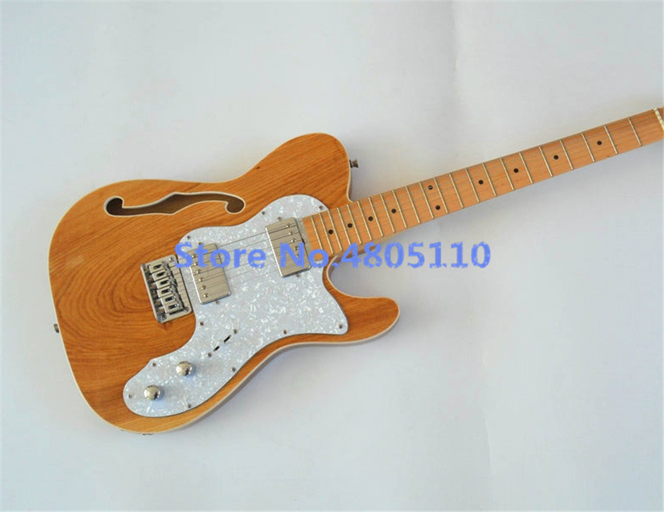 high quality customized f hole tele electric guitar fixed bridge closed pickup in wood color. Black Bedroom Furniture Sets. Home Design Ideas