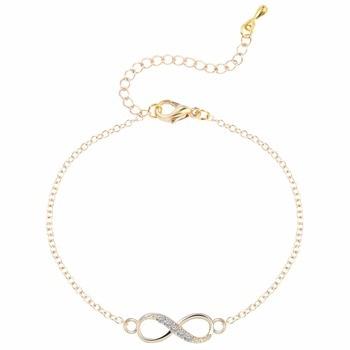 Kinitial 2pcs New Infinity Cross Crystal Dangle Bracelet Necklace Sets Bridal Wedding Party Jewelry Set Pendientes Mujer Bijoux 3