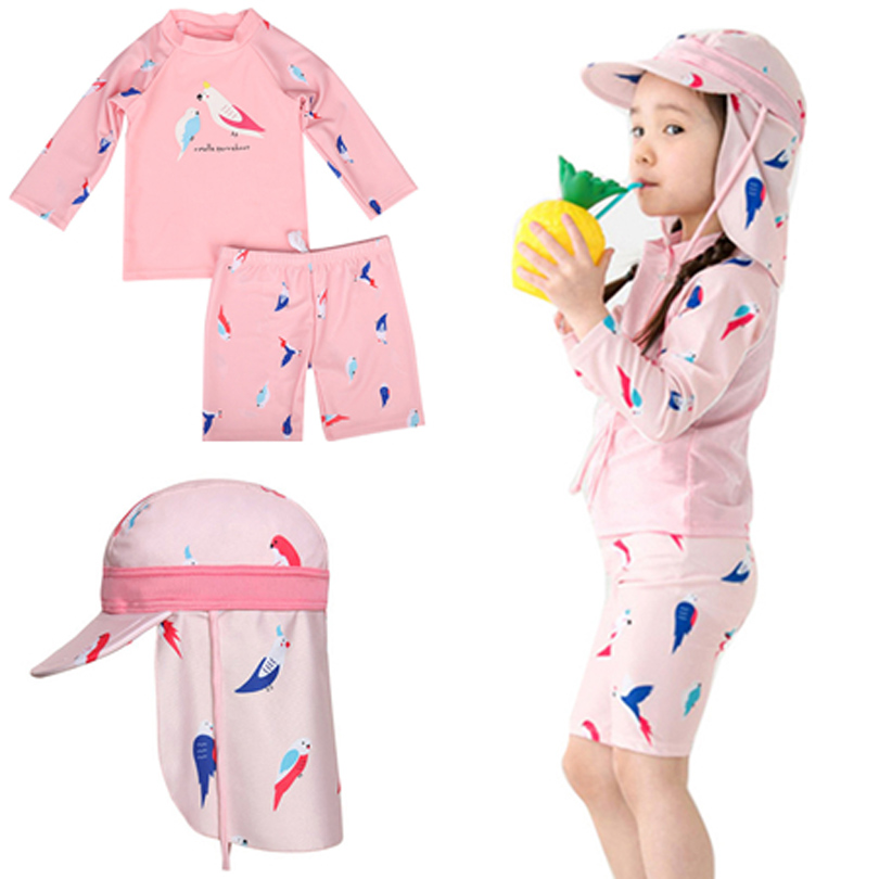 Baby Kids Girl Clothes Kids Pink Parrot Summer Swimwear Tops+Shorts Set SwimSuit Bathing Beach Clothing Hat Long Sleeve