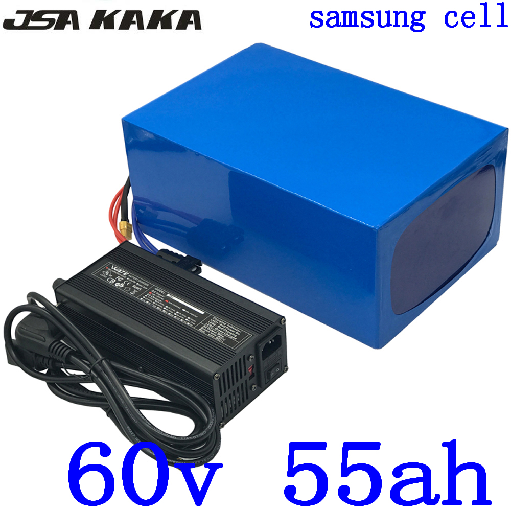 <font><b>60V</b></font> Battery <font><b>60V</b></font> 55AH Electric Bike Battery <font><b>60V</b></font> 55AH 50AH lithium Battery use <font><b>samsung</b></font> cell <font><b>60V</b></font> 3000W 4000W Electric Scooter Motor image