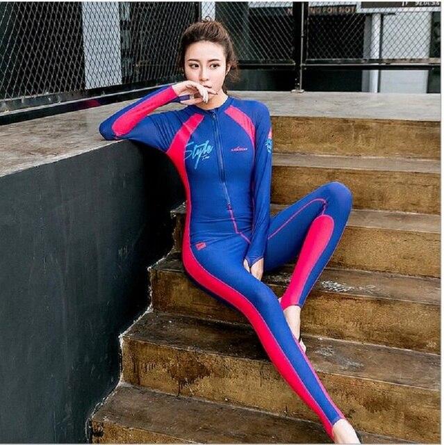Free Shipping Women Surfing Swimwear Snorkeling Wetsuit Full Diving Skin Suit Beach Rashguard