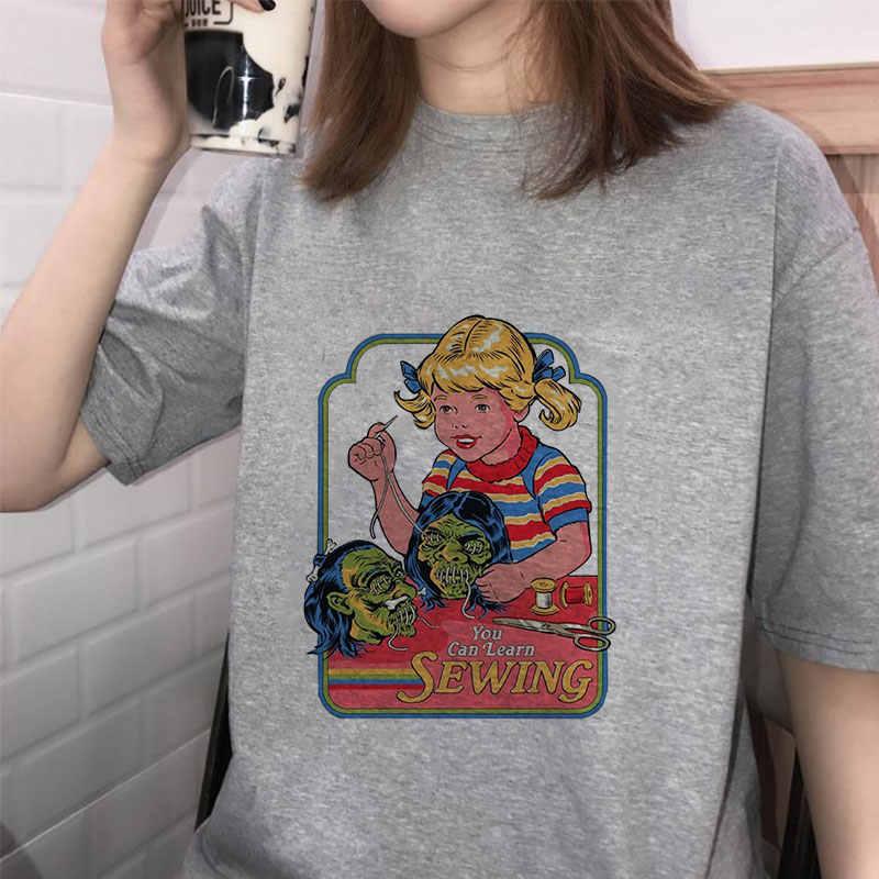 Summer 2019 T Shirts Women Streetwear Pulp Fiction Graphic Print Tumblr Vintage Korean Style Ulzzang Grunge Harajuku Funny