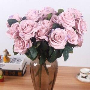 Image 3 - Yapay ipek 1 demet fransız gül çiçek buketi sahte çiçek yerleşim tablosu papatya düğün çiçekler dekor parti aksesuarı Flores