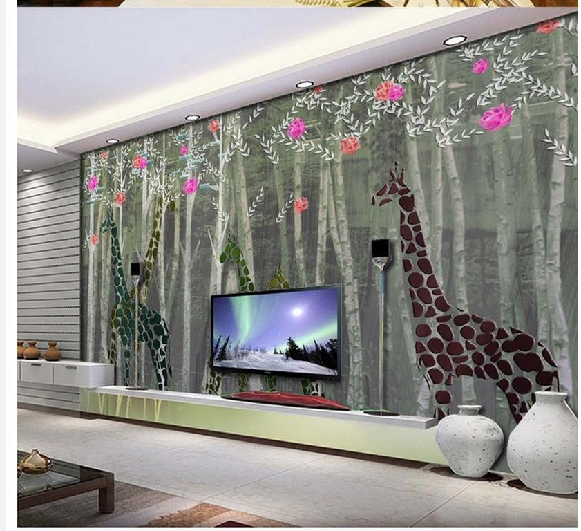 Home Decoration Giraffe abstract woods television background wall ...
