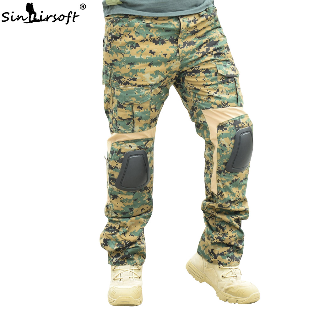 SINAIRSOFT Camouflage Tactical Pants Paintball Hunting Clothes With Knee Pads Airsoft Outdoor CS Hiking  Army Combat Trousers
